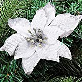 VlugTXcJ Decorazione Albero di Natale 10pcs Ciondolo 13 Centimetri Glitter Colorati Fiori con Floccaggio per Natale Ornamenti di Cerimonia Nuziale del Partito Decori Bianco