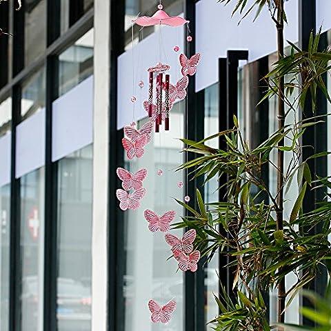 Dairyshop Papillon Housse de 4tubes Carillon Bell, jardin Yard Home Living Creative Decor Ornement NEUF rose