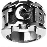 PAURO Men's Stainless Steel Engraved Character TCB Silver Ring