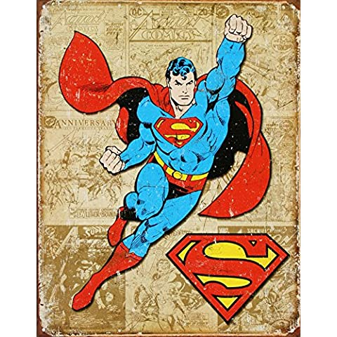 Superman resistida paneles apenado Retro de la señal de estaño