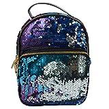 AiSi Damen Mädchen PU Leder Mini Rucksack Daypacks Wanderrucksack Schoolbag Schultasche mit modernem Design, Pailletten 20cm x 9cm x 26cm blau