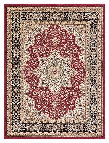 Rom Teppich Boden Teppich Läufer 100% Polypropylen Dick 12mm traditionelle Optik Vintage Design Home Decor, rot, 200x290cm
