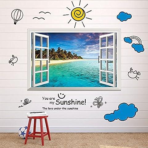 Adesivi 3D parete decorativo parete verde camera finestra del soggiorno , blue