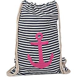 stylebreaker Turn Bolsa Mochila Marítimos Diseño con rayas y ancla Print, bolsa de deportes, unisex 02012052, color Marine-Weiß / Pink, tamaño talla única, volumen liters 25