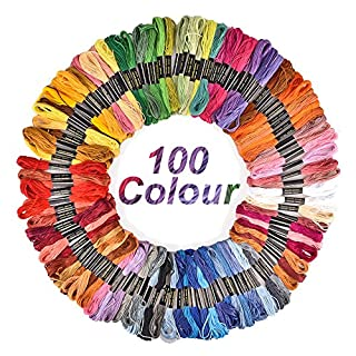 AUSHEN Embroidery Threads 100 Colours Black White Gold Red Pink Blue Sewing Threads Set for Cross Stitch Cloth (Embroidery Threads)