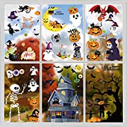 Halloween Window Clings for Glass Window,8 Sheets Double-Sided Haunted House Pumpkin Ghost Witch Stickers Boo