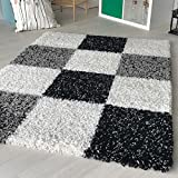 Hochflor Shaggy Teppich kariert in versch. Farben und Größen Langflor Teppiche für Wohnzimmer und Jugendzimmer. (160 x 230 cm, Grau)