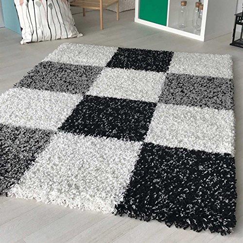 mynes Home Hochflor Shaggy Teppich kariert in versch. Farben und Größen Langflor Teppiche für Wohnzimmer und Jugendzimmer. (80 x 150 cm, Grau) (Kariert Teppich)