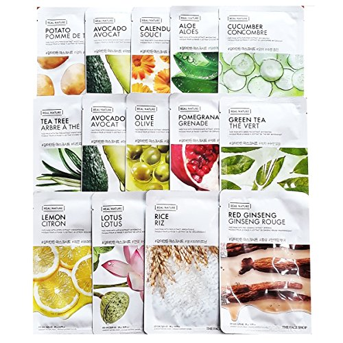 The Face Shop [Total 30Pcs] Living Nature Grind Real Nature Mask Sheet -