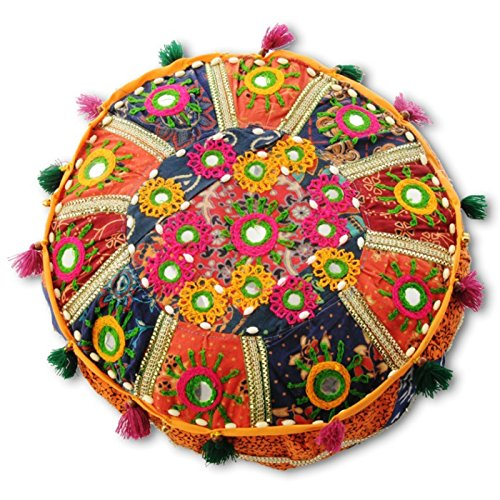 Looms Of India Gujrati Floor Cushions- Round (15 Inches)