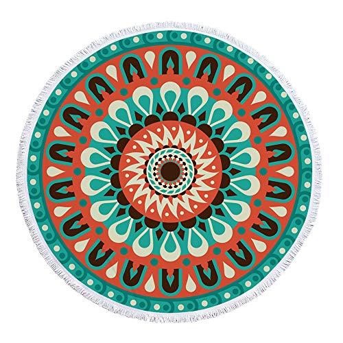 LYJZH Rundes Strandtuch- Geometrischer Druck im europäischen und amerikanischen Stil mit gefranstem Mikrofaser-Badetuch, Yogamatte, Tapisserie, Picknickmatte - 08 150 * 150 cm