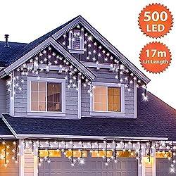 Guirlande Lumineuse Stalactite 500 LED Blanc Brillant lumières de Noël extérieure et intérieure avec 8 fonctions de mode Alimentation Secteur avec Longueur éclairée 17m Câble Vert
