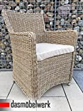 dasmöbelwerk Polyrattan Stuhl mit Sitzpolstern Rattan Stuhl Relax Sessel Gartenmöbel Gartenstuhl LILIE Cappuccino