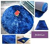 Fabelia Hochflor Teppich Shaggy Gentle Luxus - Weich und Handgetuftet (80 cm x 80 cm Rund, Blau)