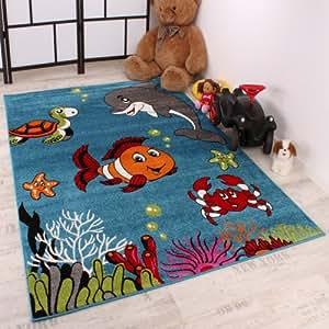 Kinderteppich Clown Fisch Aqua Kinderzimmer Teppich In Türkis Grün Creme Pink, Grösse:120x170 cm