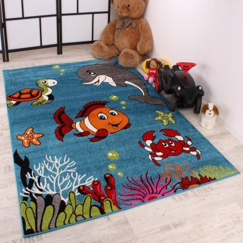 Paco Home Tappeto per Bambini Pesci Delfino Cameretta Acqua Turchese Verde Rosso Crema, Dimensione:80x150 cm