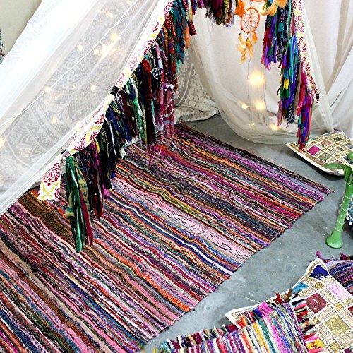 Handgefertigter, dekorativer Flickenteppich, Chindi-Teppich, mehrfarbig, 150x 90cm violett -