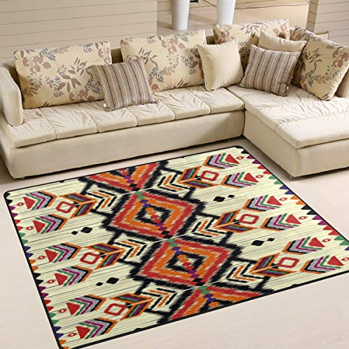 Use7 Tapis géométrique Ethnique aztèque Tribal Vintage pour Salon Chambre à Coucher, Tissu, Multicolore, 160cm x 122cm(5.3 x 4 Feet)