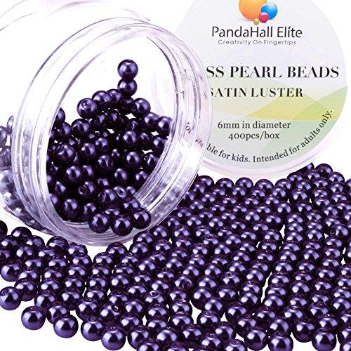 PandaHall Elite 6mm ca 400Stk. Glas Round Perle Schmuck DIY runde Kasten Lila