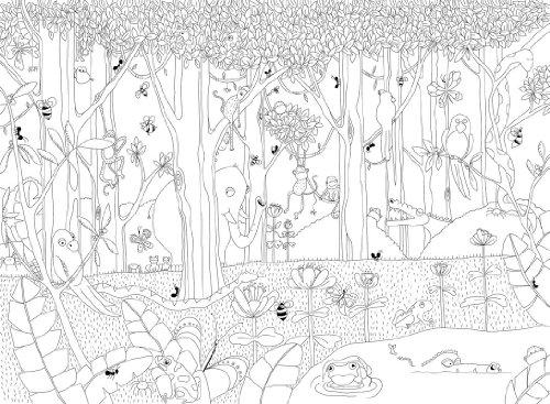 P120102 8 Vlies Wandbild Dschungel Afrikanische Tiere Zum Ausmalen