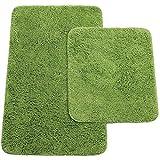 Brandsseller Badematten 2er-Set bestehen aus Badvorleger: ca. 50/80cm und WC-Vorleger ca. 45/50cm - Farbe: Grün