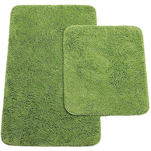 Badematten 2er-Set bestehen aus Badvorleger: ca. 50/80cm und WC-Vorleger ca. 45/50cm - Farbe: Grün - von Brandsseller