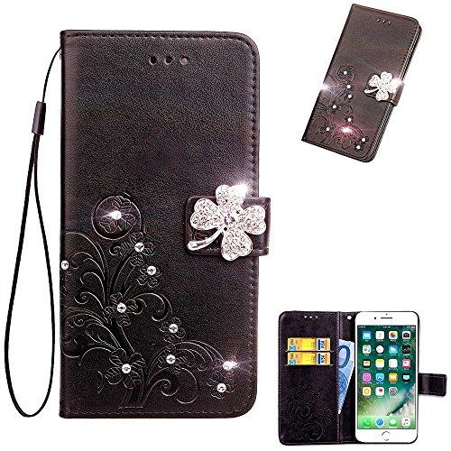 """MOONCASE Huawei Y3 2017 Flip Tasche, [Wrist Strap Design] PU Leder Card Holder Handysocken Weich TPU Non-slip Stoßfest Schutzhülle für Huawei Y3 2017 5.0"""" Schwarz"""