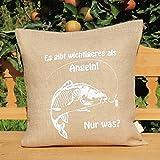 Kissenbezug aus Jute - Angeln / Angler * Fisch / Fische * Es gibt wichtigeres als Angeln! Nur was?