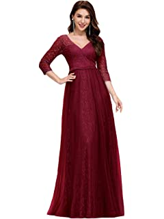 Ever-Pretty Womens V Neck Floor Length A Line Elegant Long Lace and Tulle Evening Dresses 00657