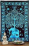 Guru-Shop Indisches Wandtuch, Batik Tagesdecke - Tree of Life Elefant/Türkis, Baumwolle, 190x140 cm, Bettüberwurf, Sofa Überwurf