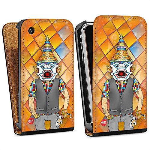 Apple iPhone 5s Housse Étui Protection Coque couleurs Orange Bande dessinée Sac Downflip noir