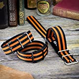 NATO Watch Strap ZULUDIVER® Black & Orange Stripe Bond, 20mm or 22mm