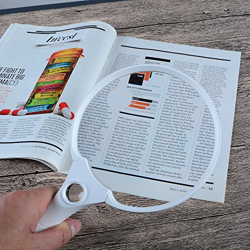 Extragroße Lupe von XYK mit LED-Licht, 14 cm, zum Halten in der Hand, zum Lesen, Untersuchen, Entdecken sowie für Karten, Dokumente, Hobbys und mehr, 2fache, 4fache und 25fache Vergrößerung, Weiß - 5