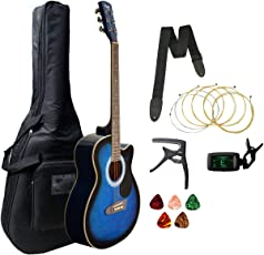 Xtag Acoustic Guitar Acoustic Guitar with Super Combo of Foldable Guitar Stand, Tuner, Capo, Bag, Strap, Strings and 5 Picks (Blue)