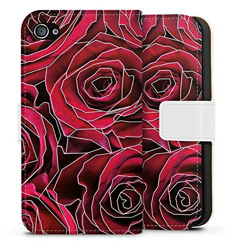 Apple iPhone X Silikon Hülle Case Schutzhülle Rosen Grafik Blumen Sideflip Tasche weiß
