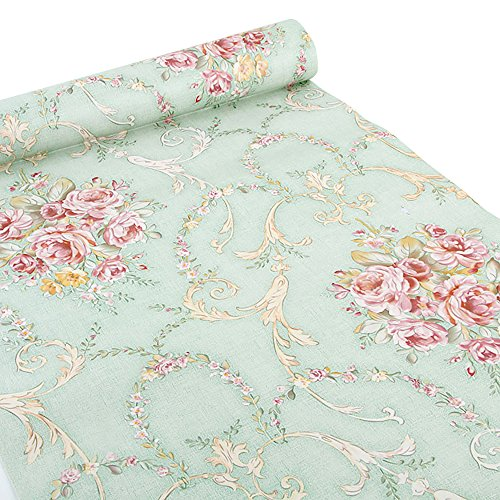 (Green-Rose) - Ya Jin Vintage Flower Shelf Liner Dresser Drawer Sticker Self-Adhesive Cabinet Desk Contact Paper Green-Rose - Style 4 Drawer Dresser
