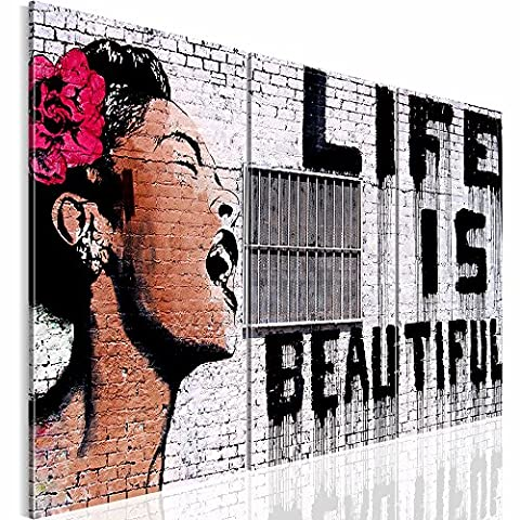 Picture 120 x 80 cm (47.24 x 31.5 '') - Banksy life is beautiful - Canvas – Wall Art prints - Mural Art Picture - XXL format – Various colours and sizes in the shop – Stone wall Woman Already spanned 301331a