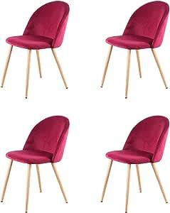 Rosa n//c Set di 6 Sedie per Il Tempo Libero in Tessuto retr/ò in Velluto Sedie da Pranzo Imbottite con Gambe in Metallo Stile Legno per la Casa Il Soggiorno e LUfficio
