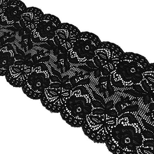 chiwanji 5 Gläser, 14 cm, schwarz, weich, Stretch, Blumenmotiv, Spitze, Stoff, für Strumpfbänder, Dekoration, Florales Design \u0026 CRA -
