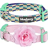 Blueberry Pet Multiple Designs 2 PCs Valentine Gift Puppy Collars, Mix and Match Pretty Picks Designer Dog Collar with Detachable Flower for Small Dogs, S, Neck 30cm-40cm