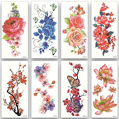 Tatuaggio temporaneo oro 8pcs / set fiore impermeabile tatuaggi temporanei trasferimento dell'acqua adesivi colorati bellezza salute art donne ragazza sexy trucco 19x9cm
