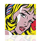 Quadro tributo Girl with Hair Ribbon Roy Lichtenstein - Arredo Moderno Pop Art Telaio in Legno Pronto da appendere Design - Colorscrazy