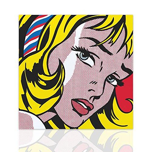Malen auf Leinwand moderne Girl with Hair Ribbon hommage Roy Lichtenstein - Pop Art Canvas mit handgefertigten Holzrahmen - Design Colorscrazy