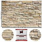GREAT ART Fototapete Steinwand Beige Hell 210 x 140 cm - Steinoptik Wandverkleidung Mauer Steinmauer Steinwand Stein-Tapete Wanddeko Wandtapete - 5 Teile Tapete inklusive Kleister