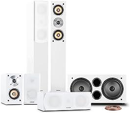 auna Linie-501-WH 5.1 Heimkinosystem Soundsystem Lautsprechersystem 600W RMS (2 Standlautsprecher 280W passiv, 2 Regallautsprecher 100W passiv, Centerlautsprecher 120W passiv, Aktiv-Subwoofer 500W, 25 Meter Lautsprecherkabel) Weiß