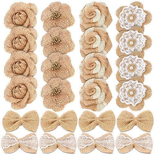 24 flores de arpillera natural hechas a mano
