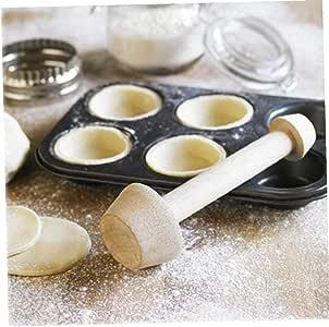 Hughdy Egg Tarts-Tarts-Tamper Double Face in Legno da Pasticceria Strumento da Cucina Come Illustrato