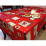 """Tovaglia Natale Cucina Soggiorno Patchwork """"Cuori e Renne"""" rettangolare cm 140x300- Made in Italy ROSSA"""