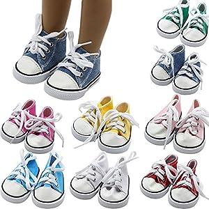 mxjeeio 7cm*4cm Sneaker Denim Puppenschuhe – Puppenkleidung & Puppenzubehör für Segeltuchschuhe mit 18 inch Zoll amerikanischen Jungenmädchens Babypuppen