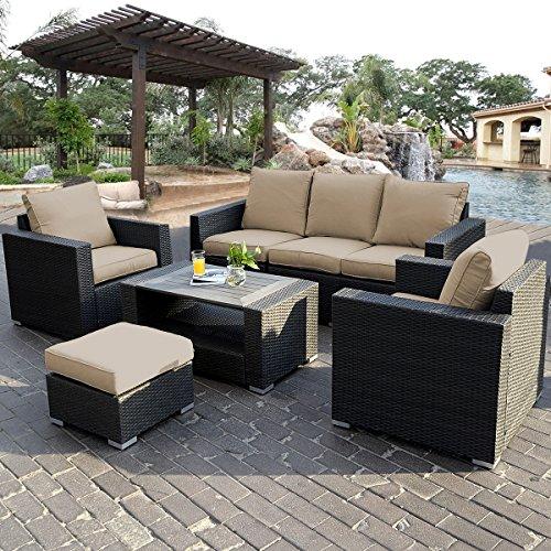 004885 confezione da 7 pezzi in rattan per esterni mobili da giardino con divano ad angolo - Ebay mobili da giardino ...